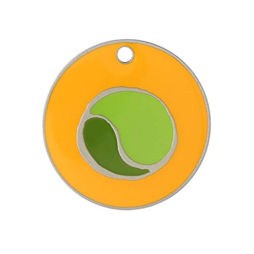 DogIDs Personalized Designer Enamel Round Circle Dog Identification Tag, Custom Laser Engraved Single Sided ID Tag with S-Hook and Split Ring - Yellow Tennis Ball, Large, 1 1/8 in