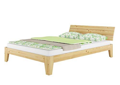 Erst-Holz® Futonbett Kiefer massiv Doppelbett Ehebett Jugendbett 140x220 Überlänge mit Rollrost 60.62-14-220