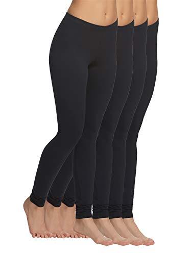 Felina | Velvety Soft Lightweight Leggings | Moisture Wicking | Yoga | 4 Pack (Black, Medium)