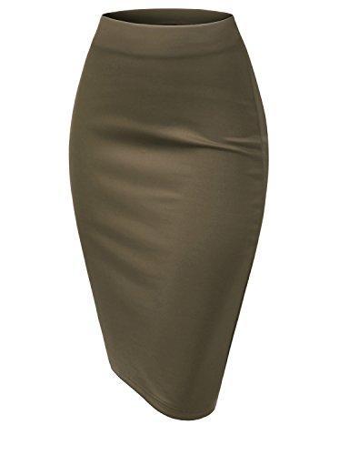 TWINTH Pencil Skirts Plus Size Casual Skirt Elastic Waist Band Scuba Streychy Solid Color KHAKI XL