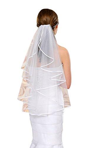 Nina Brautmoden Brautschleier Hochzeitskleid 70 cm lang mit Satinkante - S4 Soft (Ivory/Champagner)