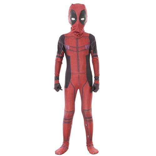 KIDsportxie Deadpool Kostüm Kinder Elastic Bodysuit Halloween Film Superhero-Abendkleid Geburtstag Pretend Play-Overall-Thema-Partei-Einteiler,M(125~135CM)