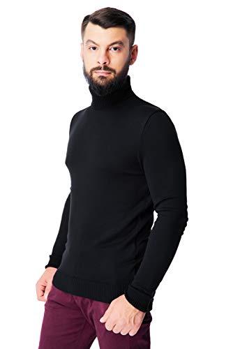 Men's Merino Wool Turtleneck Sweater Classic Midweight Long Sleeve Pullover (Black, Large)