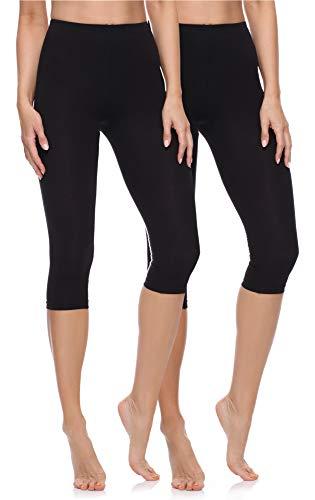 Merry Style Lote de 2 Leggins 3/4 Mallas Deportivas Mujer MS10-199 (Negro/Negro, M)