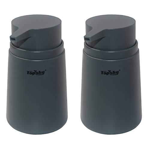 TOPSKY 2 Stück 313 ml Seifenspender,mit Kunststoffpumpe,rostfreie Pumpe für Küche & Bad,ideal für Lotionen,ätherisches Öl, Flüssigseifen(Grau)