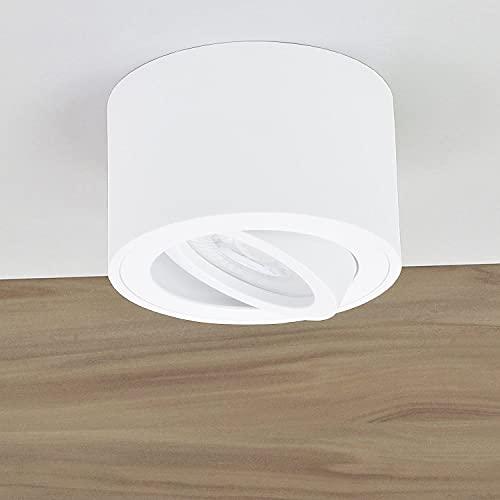 JVS Aufbauleuchte Aufbaustrahler Deckenleuchte Aufputz MILANO SMALL 5W LED Modul extra-flach Kaltweiss 230V IP20 rund weiss-glänzend schwenkbar Strahler Deckenlampe Aufbau-lampe aus Aluminium