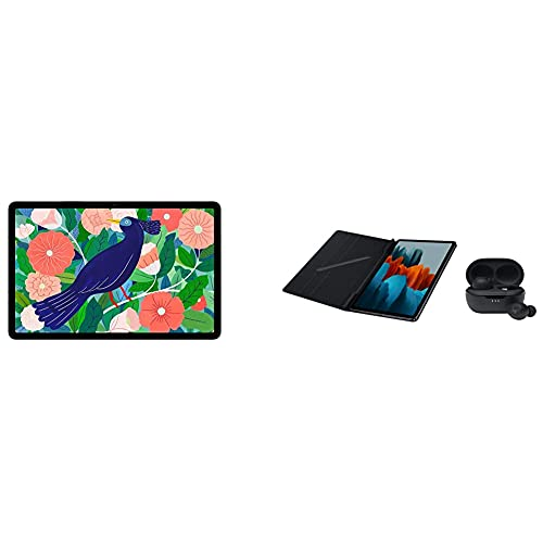 Samsung Galaxy Tab S7, Android Tablet mit Stift, 128 GB/6 GB RAM, Tablet in schwarz + Book Cover Samsung Tab S7 Black inkl. JBL Headset Tune TWS 115