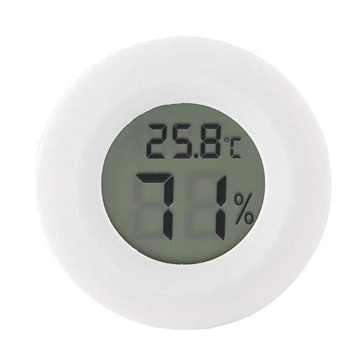Atyhao Reptilien LCD Thermometer, Mini Digital LCD Thermometer Hygrometer Runde Form Temperatur Luft feuchtigkeits Messer für Humidore Gewächshaus Garten Keller Kühlschrank Schrank(Weiß)