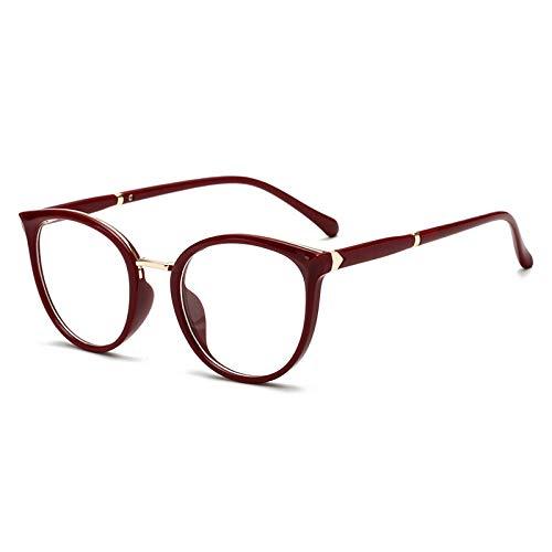 HAOMAO Cat Eye Frame Anti Blue Light Blocking Glasses For Women C6Darkred