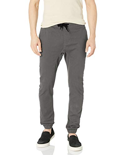 Southpole Men's Basic Stretch Twill Jogger Pants-Reg and Big & Tall Sizes, Dark Grey, Medium