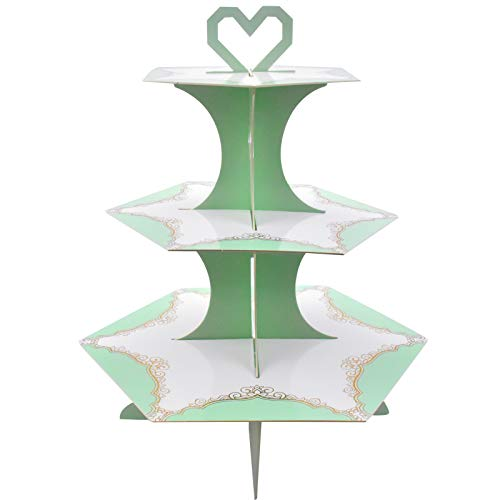 Soporte de Magdalenas de Cartón de 3 Niveles, Soporte para Cupcakes Tartas Postre Plato de Frutos Bandeja de Tartas Cupcake y Torre de Postre para Cumpleaños Fiesta Baby Showers (Verde)