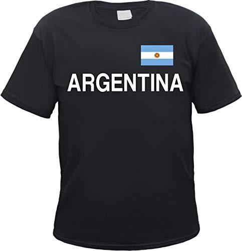 Argentina Herren T-Shirt - Blockschrift mit Flagge - Tee Shirt Argentinien Schwarz 2XL
