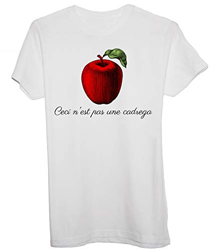 New Indastria T-Shirt Parodia Magritte Questa Non È Una Cadrega -Fan Art Divertente - Donna-S-Bianca