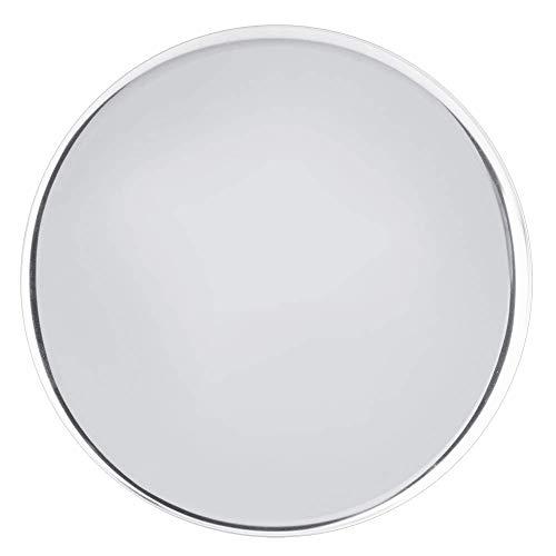 Bandeja de espejo Bandeja de servicio redonda de acero inoxidable Bandeja de té para frutas Dulces Toalla de joyería para alimentos 28 cm / 11,0 pulgadas (Plata)
