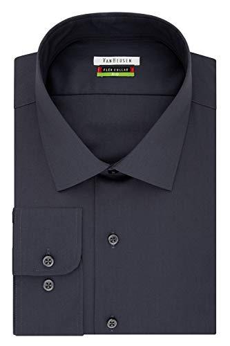 Van Heusen Men's Big and Tall Flex Fit Solid Spread Collar Dress Shirt, Charcoal, 19