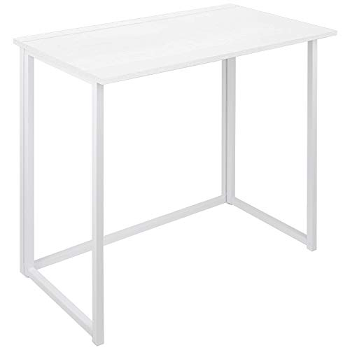 Folding Computer Desk for Small Spaces, Simple Space-Saving Home Office Desk, Foldable Computer Table, Laptop Table, Writing Desk, Compact Study Reading Table (White)