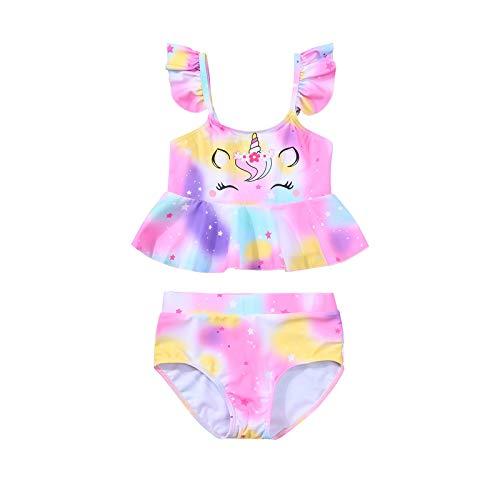 Traje de baño para niña pequeña con estampado de unicornio, manga voladora, dobladillo con volador+pantalones cortos triangulares, juego de baño de 2 piezas