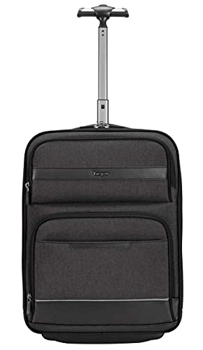 Targus CitySmart Compact Under-Seat Roller Bag Designed for Business Professional Carry-on Travel, Separate Clothing Organization, Protective Suspended Cradle fits 15.6-Inch Laptop, Gray (TBR038GL)