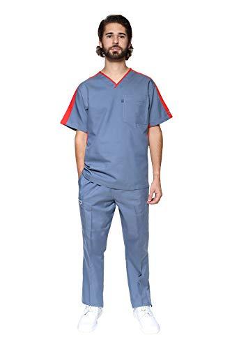 HASSAN UNIFORMES Conjunto de Uniforme Médico - Traje Completo Filipina y Pantalón Médico - Quirúrgico para Doctores - Conjunto Quirúrgico para Hombre - Scrub y Pant HA-25 (Acero/Rojo, CH)