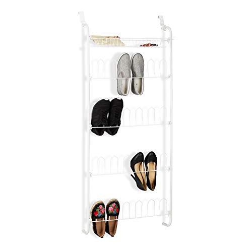 Relaxdays, weiß Tür-Schuhregal, 12 Paar, Korb, zum Einhängen, Schuhablagen auf 4 Ebenen, Eisen, HBT: 144 x 60 x 19 cm