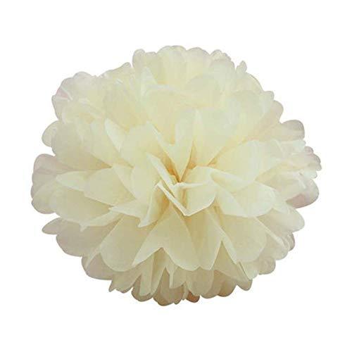 Sumshy Pompons Pompoms Beige 10er Set, 30cm Durchmesser, Premium Seidenpapier Blume Dekoration für Geburtstag, Kinder Party, Hochzeit, Babyparty, Wohnzimmer, hängende DIY Zimmer Dekoration