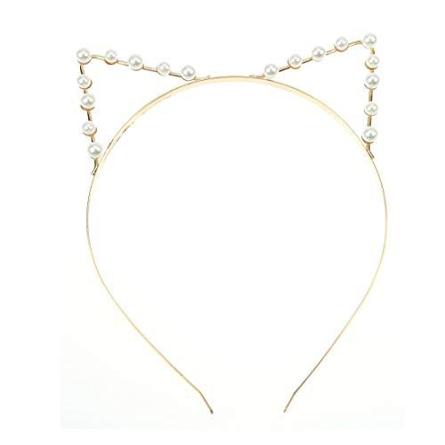 Demarkt Cute Katzenohren Haarreif Haarband Haar Reif Perle Haarband Spange Haar Schmuck,Golden