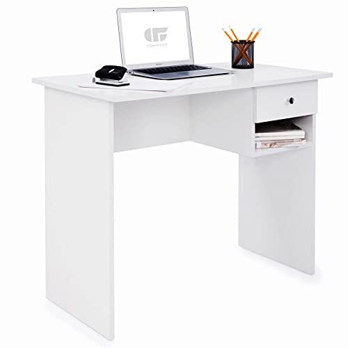 COMIFORT Mesa de Estudio – Escritorio Robusto, Práctico de Estilo Moderno y Minimalista, Gran Capacidad de Almacenaje, 1 Cajón y 1 Estante, Color Blanco