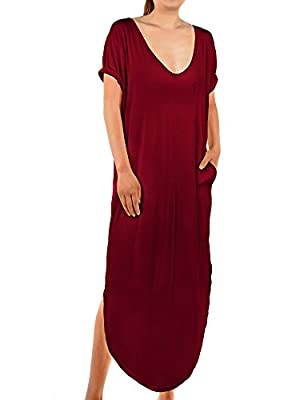 Skylety Maxi Dress Casual Loose V Neck Pocket Long Dress Summer Beach Dress