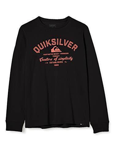 Quiksilver Creators of Simplicity - Camiseta De Manga Larga para Niños 8-16 Camiseta De Manga Larga, Niños, Black, M/12