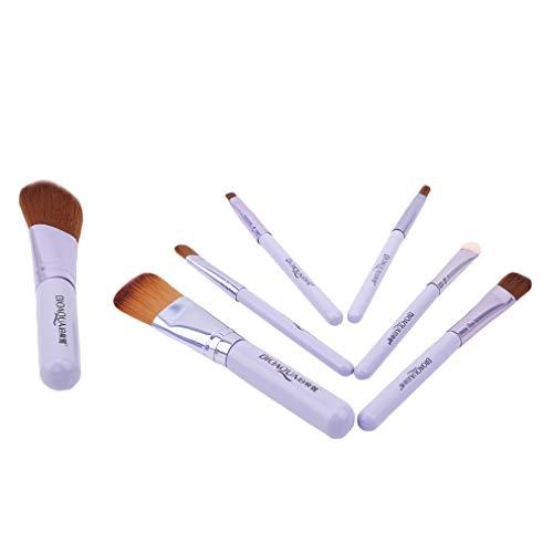 MOONRING 7 PCS Maquillage Brosse Ensemble Voyage Fondation Éponge Oeil Visage Kabuki Brosses Cosmétique Outils, Paon violet