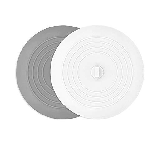 Gen 13 Bouchon x2 (Un Gris Clair, Un Blanc) pour Baignoire, Lavabo ou Evier en Silicone, 15 cms de Diamètre. Bondes Résistantes Et Faciles à Utiliser