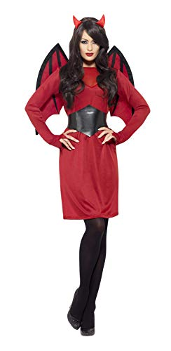 Smiffys-43730M Disfraz económico de Diablo, con Vestido, alas, cinturón y Cuernos, Color Rojo, M-EU Tamaño 40-42 (Smiffy