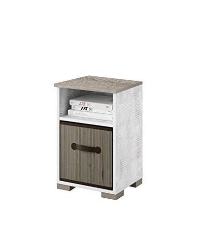 Nachttisch Tundra mit Rattan Korb und Regalfach Vintage Weiß + Eiche Cambrian Nachtschrank Nachtkonsole Nachtkommode