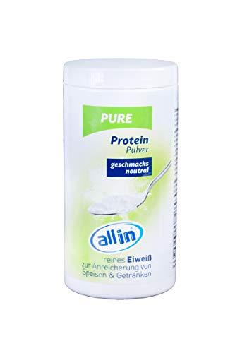 all in® PURE reines Protein Pulver 150g ohne Kohlenhydrate - Sportnahrung hochwertiges Eiweißpulver ohne Zusatzstoffe ideal zum Muskelaufbau   Geschmacksneutrales reines Kollagen Pulver vom Rind