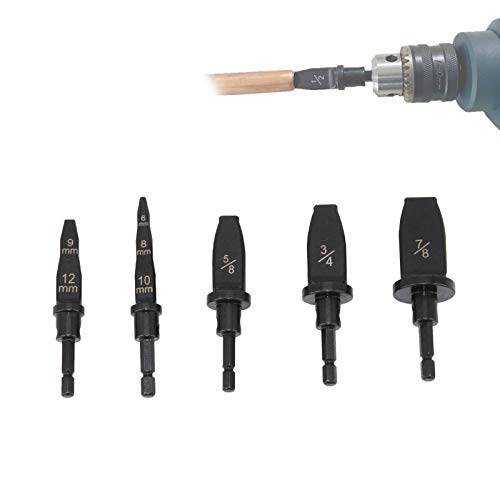 5X Air Conditioner Copper Tube Expander Swaging Tool Drill Bit Set Tube Flaring, Flaring Tool Drill Bit Set with 6mm,8mm,9mm,10mm,12mm,5/8',3/4',7/8' Bits