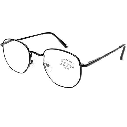 DOOViC Blaulichtfilter Computer Lesebrille Schwarz Metall Rahmen Große Gläser Brille mit Stärke für Herren/Damen 1,0