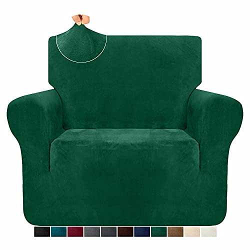 Granbest 1 Piece High Plush Stretch Sofa Cover for Armchair Super Soft Velvet Couch Cover Spandex Sofa Slipcover Non Slip Furniture Protector with Elastic Band for Living Room (1 Seater, Dark Green)