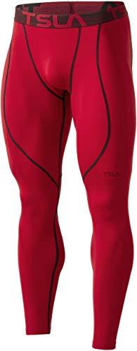 TSLA Mallas térmicas de compresión para hombre, con forro polar, Hombre Mujer Niños Niñas Unisex niños, Yup53 1pack - Red, large