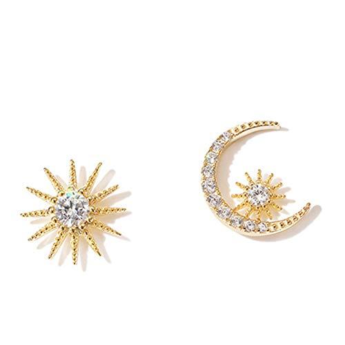 Pendientes de cristal salvaje para mujer, pendientes asimétricos de aguja de plata, pendientes de estrella y luna