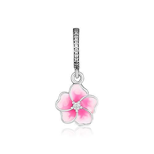 XIYANG DIY Passt Für Original Pandora Armbänder 925 Sterling Silber Pandora Charms Rosa Emaille Poetic Blooms Blumenperlen Charm Schmuckherstellung