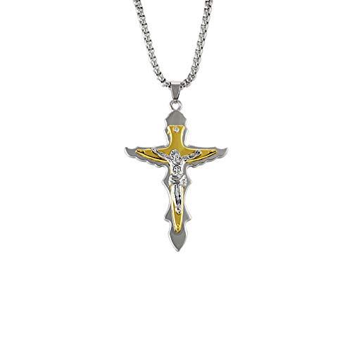 Toyvian Colar de cruz de Jesus com pingente de ouro, corrente religiosa da Bíblia colar cristão joia para homens e mulheres