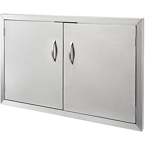 Mophorn - Puerta de doble pared para barbacoa, barbacoa, barbacoa, isla, puerta, acero inoxidable, ideal para cocinas al aire libre o barbacoas