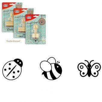 Holzstempel Marienkäfer, Biene und Schmetterling -3er Set-