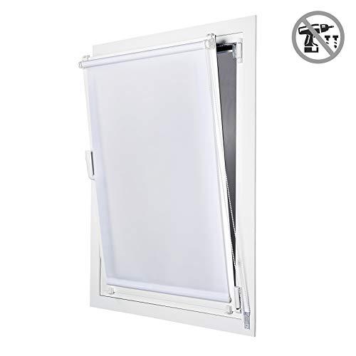 STORESDECO Estor Enrollable traslúcido EasyFix, fácil instalación sin taladrar, Ideal para Ventanas abatibles (60 cm x 180 cm, Blanco)