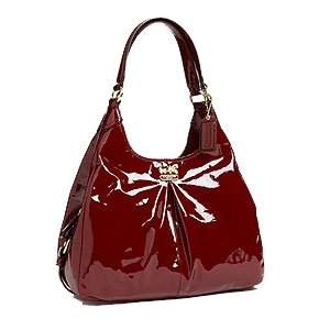 Hot Sale Coach Patent Leather Madison Maggie Hobo Handbag 21238 Crimson Red