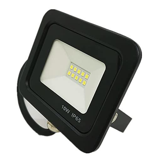 040657 - Foco Proyector LED 10W para uso Exterior Iluminación Decoración 6000K luz fria Impermeable IP66 Negro y Resistente al agua. [Clase de eficiencia energética A+] (6000k, 10W)