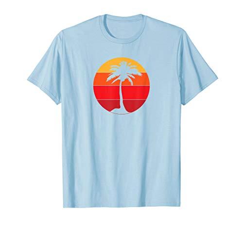 Pacific Ocean Beach Palm Tree Sun Retro Vintage T-Shirt