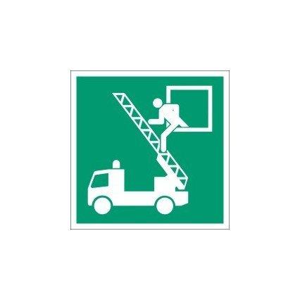 EverGlow Rettungsausstieg, ASR A1.3 E017 / ISO 7010-E017, Aluminium, 20 x 20 cm, leuchtet im Dunkeln