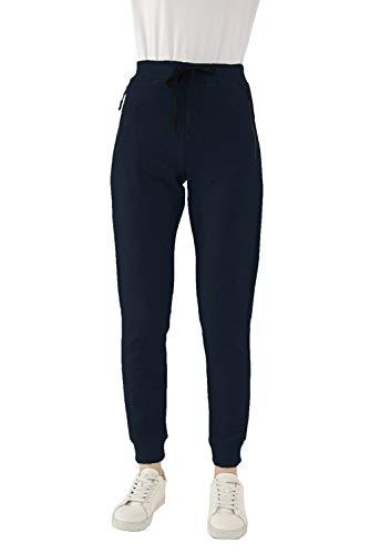 SMENG Women's Active Yoga Sweatpants Workout Joggers Pants Cotton Pockets Solid Jogging Casual Lounge Wear Bottoms Jogger Track Black Size UK (12-14)