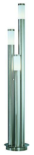 Globo Außenleuchte Edelstahl Kunststoff Opal 3x 60W E27 IP44 H: 170 cm ø 28 cm 3159-3